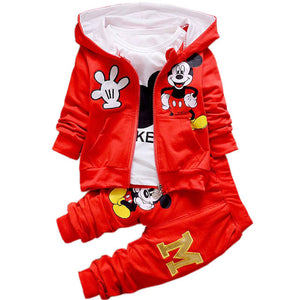 Autumn Cartoon 3pcs Minnie Mickey Clothing set kids Clothes Boys & Girls Hooded Jacket +T Shirt +Sports Pants Casual Sports suits