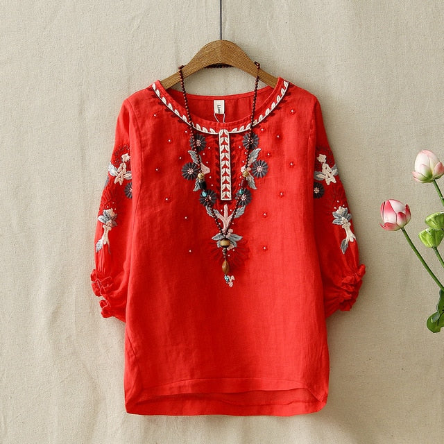 Ethnic Vintage Floral Embroidered Blouse