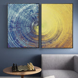 Abstract Blue And Yellow Circles Pattern Canvas