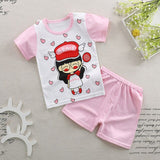Kids cotton set cartoon stripe top double-breasted elastic pant casual set baby girls boy short sleeve summer baby girl clothes