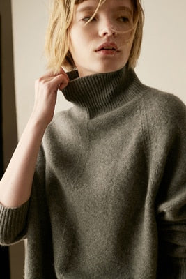 Winter New Cashmere winter turtleneck sweater Loose knitting pullover