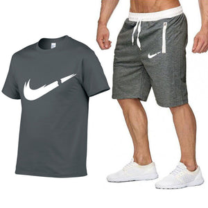 Summer Hot Sale Men's Sets T Shirts+Shorts Two Pieces Sets Casual Tracksuit Male 2019 Casual Tshirt Gyms Fitness Shorts men
