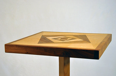 geometric table walnut and pine
