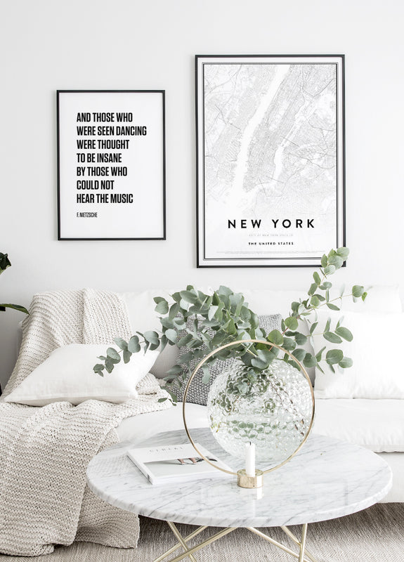 quote poster, map of new york
