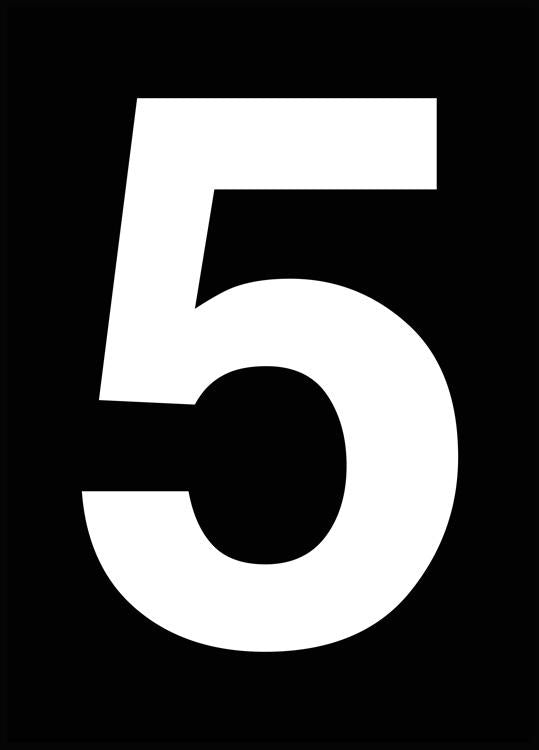 typographic poster with a white number five