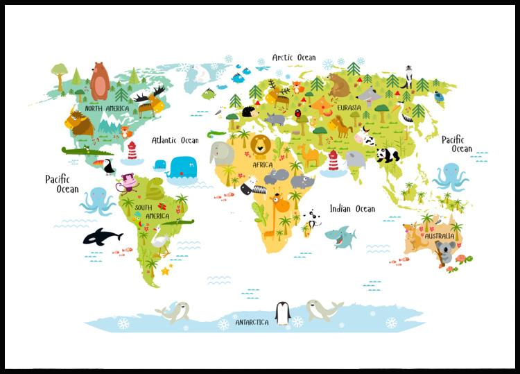 World map animals posterstore world map animals poster gumiabroncs Image collections