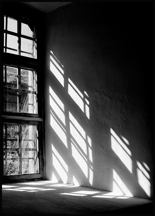 Window lights black and white poster in black wooden frame