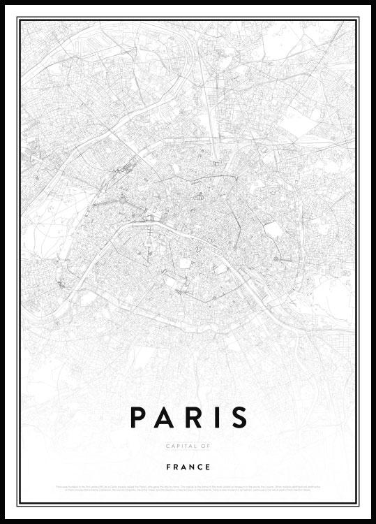 map of paris france poster