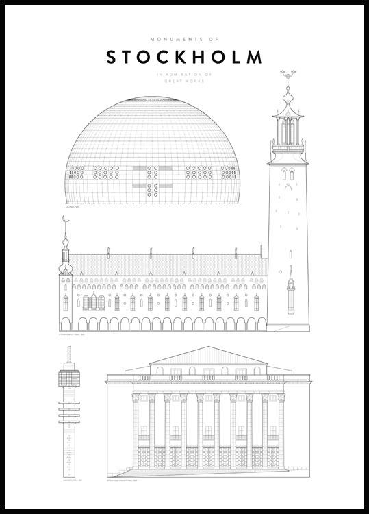 Stockholm buildings and monuments poster