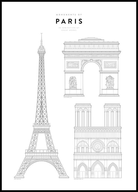 Paris landmarks and monuments poster