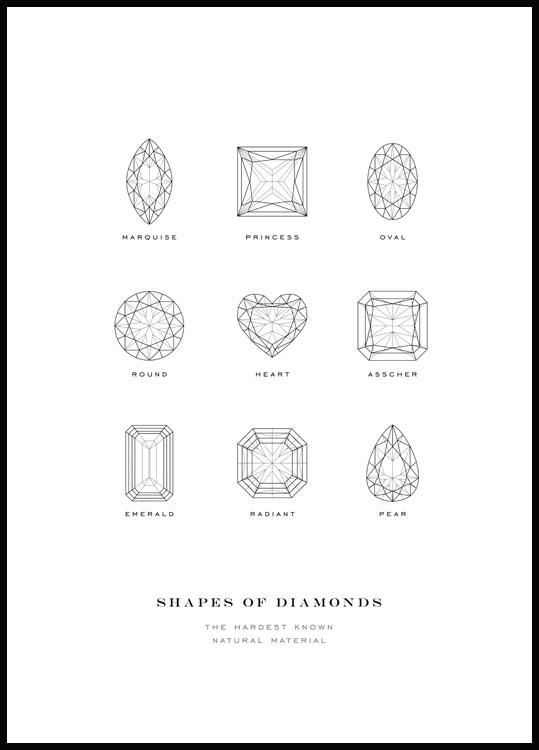 Shapes of diamonds poster