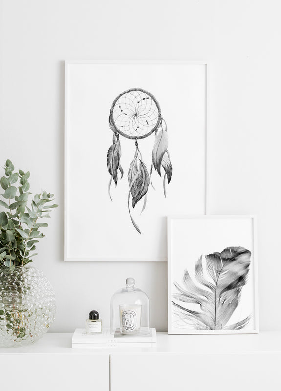 dreamcatcher, grey feather poster