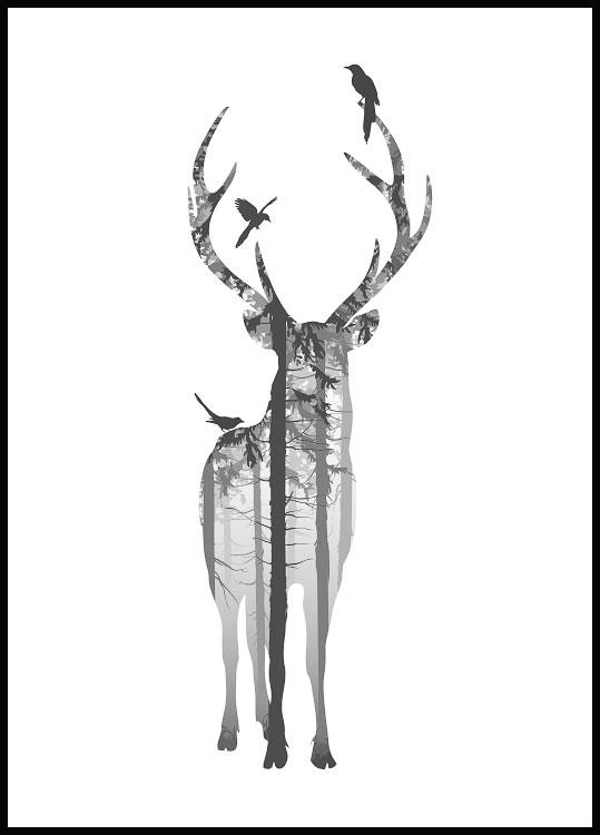Deer silhouette poster in wooden black frame