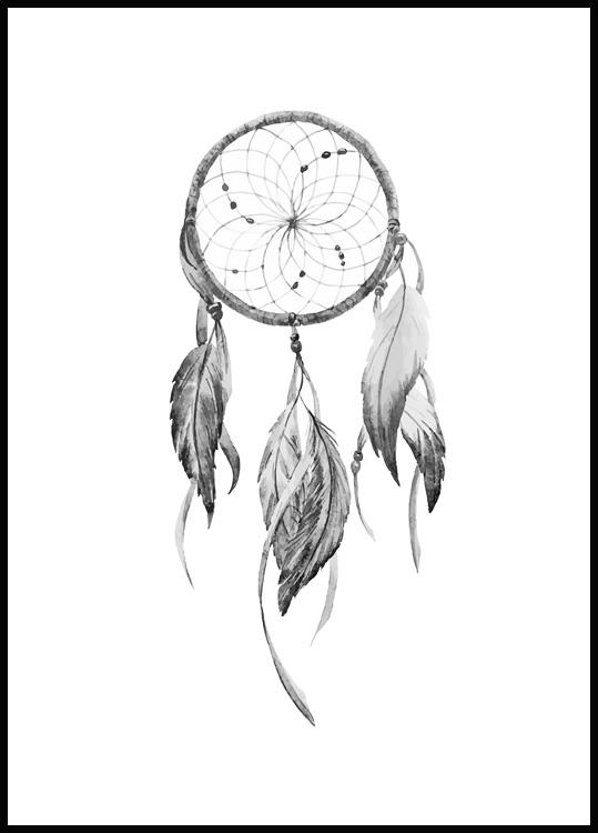 Dreamcatcher poster in black wooden frame