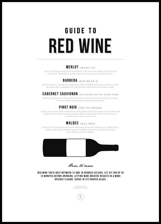 Red wine guide poster in black wooden frame
