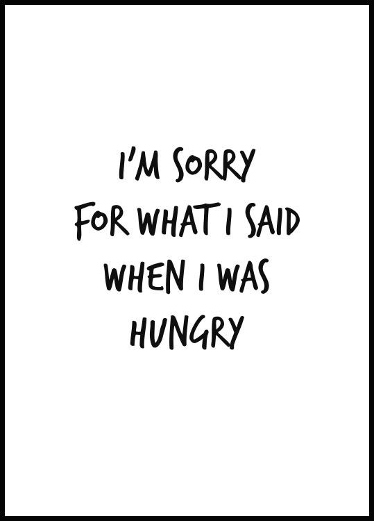 Im sorry for what i did when i was hungry poster black wooden frame