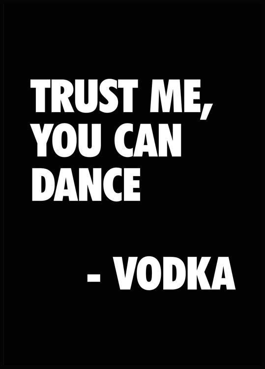 trust me you can dance vodka poster in black wooden frame