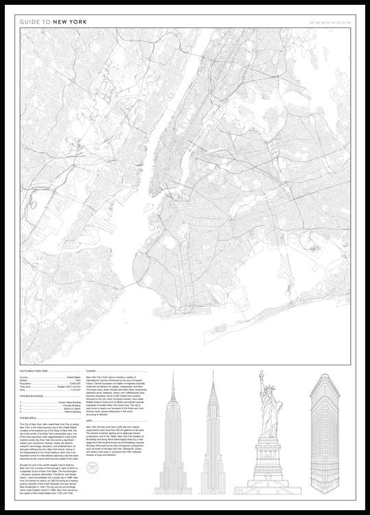 Guide to new york poster black wooden frame