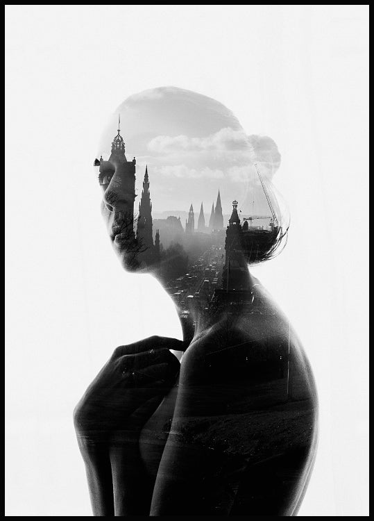 poster with a city scene inside the silhouette of a woman