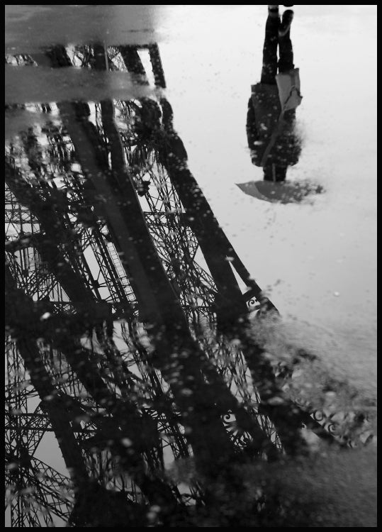 rain puddle, paris, effiel tower poster