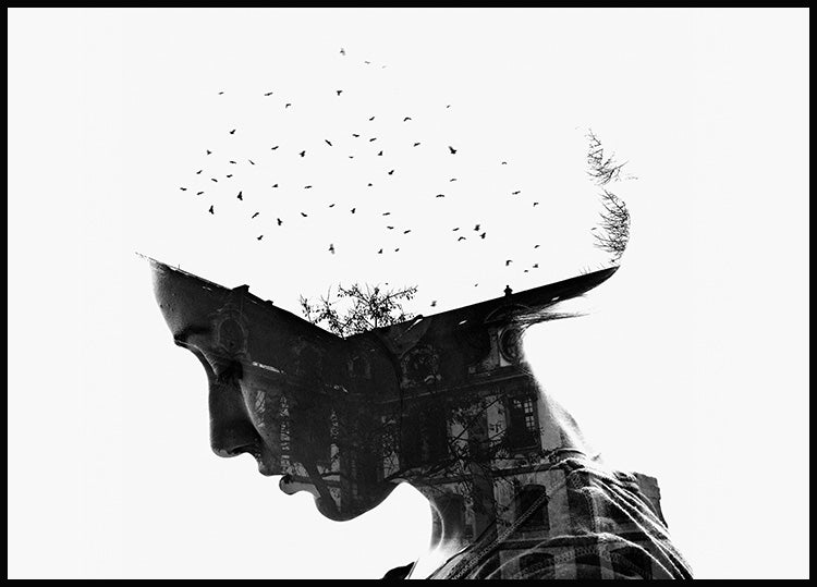 poster birds fly above the rooftops inside the silhouette of a woman's face