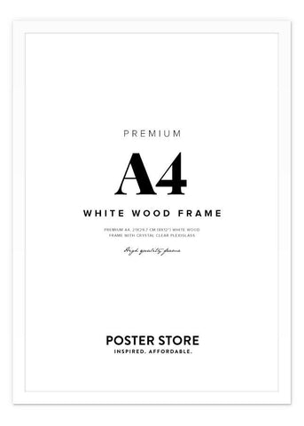 White wood frame A4 (21x29,7 cm - 8x12 in)