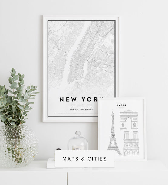 Cities and maps posters and prints