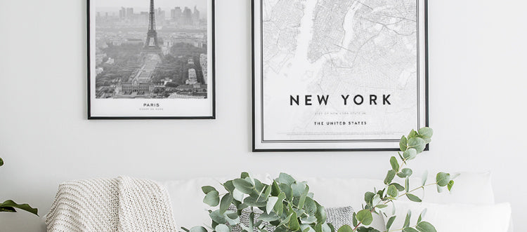 Posters with maps and cities