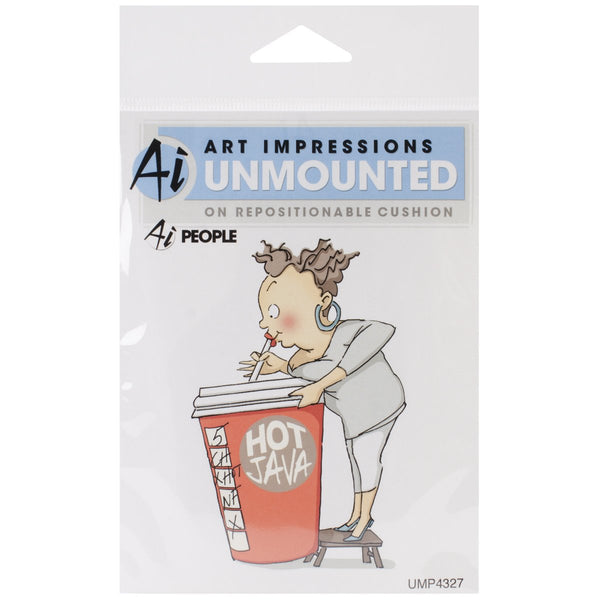 "Art Impressions People Cling Rubber Stamp 4""X6""-Cathy Caffeine"