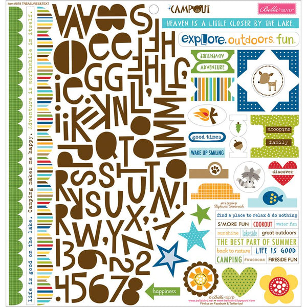 "Campout Cardstock Stickers 12""X12""-Treasures & Text"
