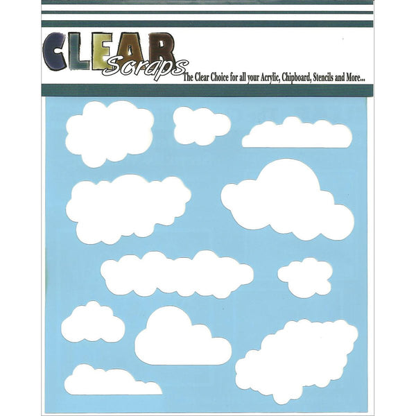 "Clear Scraps Stencils 6""X6""-Clouds"