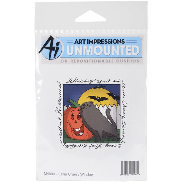 "Art Impressions Windows To The World Cling Stamp 4""X5.25""-Eerie Cheery Window"