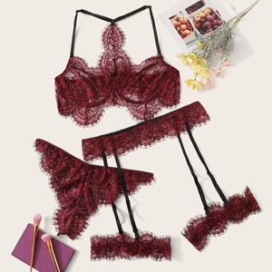 Plus Lace Garter Lingerie Set With Choker