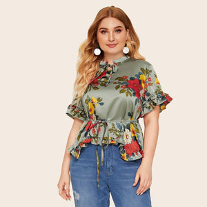 Plus Floral Ruffle Trim Belted Blouse
