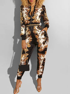 Gold and Black Printed Jumpsuit