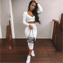 Two Piece V-neck Long Sleeve Crop Top Set