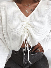 V-Neck Knitted Lace Sweater
