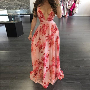 Maxi Boho Style Print Deep V Neck Backless Dress