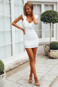 Women Ruffle Sleeveless Bodycon Party Dress