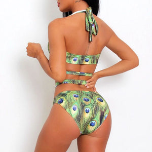 High waist Bandage Peacock Diamond swimsuit