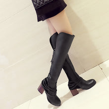 Knee High Casual Vintage Leather Lace Up Riding Boots