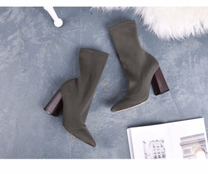 Women's Pointed Toe Elastic Ankle Boots