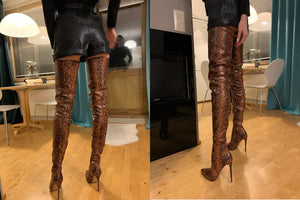 Thigh High Over the Knee Animal Print Boots