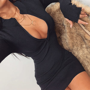 Deep V Collar Ribbed Dress