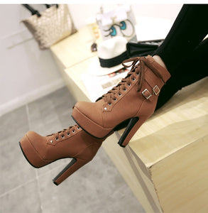 Double Buckle Platform Laced Boots