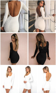 Backless Long Sleeve Bodycon Dress