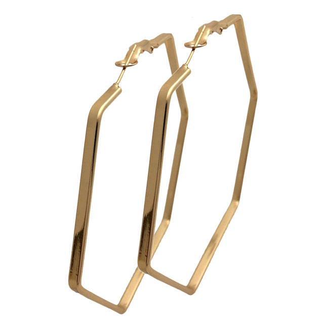 Big Hexagon Hoop Earrings