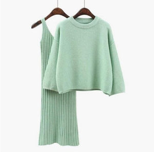 2 Piece Knitted Dress & Sweater Set