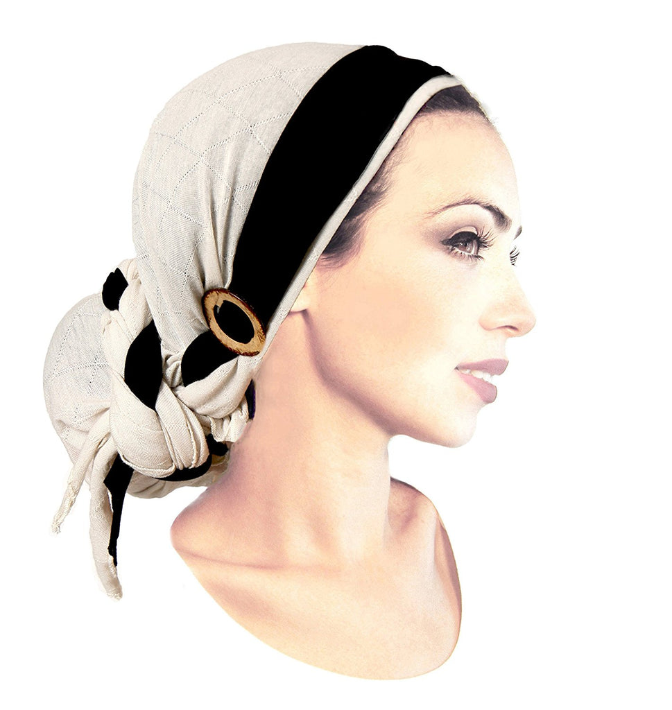 Boho Chic Head-scarf Cream Cotton with Black Wrap & Handmade Coconut Buckles - 316