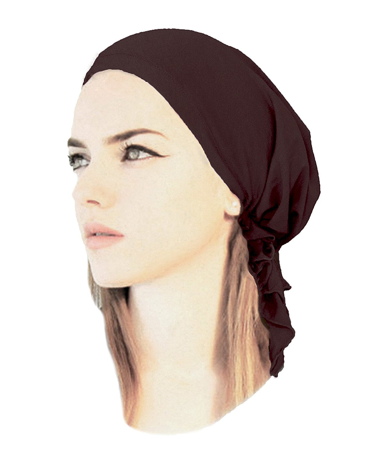 Dark brown soft cotton pre-tied headscarf